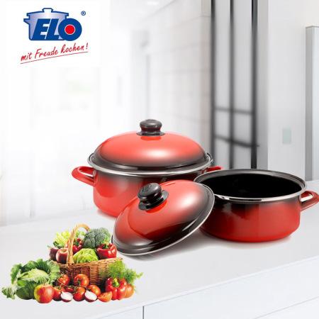 ELO进口珐琅锅具两件组·红色