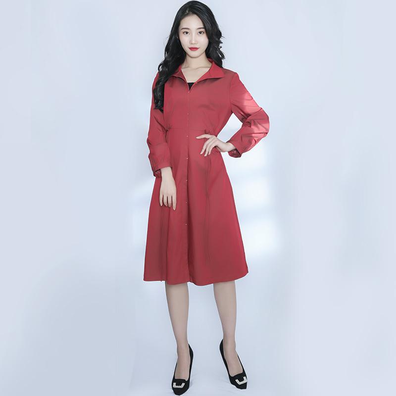 金典娜高贵典雅长款外套·铁锈红