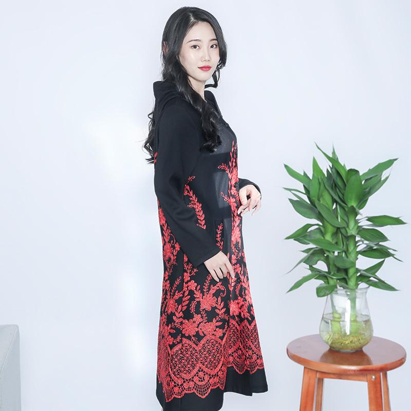 金典娜高定款重工刺绣加绒外套·红色
