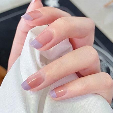 穿戴式甲片假指甲长短款可拆卸·Y082-紫色24片*2盒