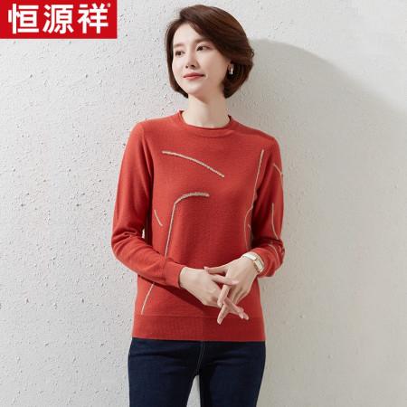 恒源祥女士100羊毛衫PY463•23WLH463·锈红
