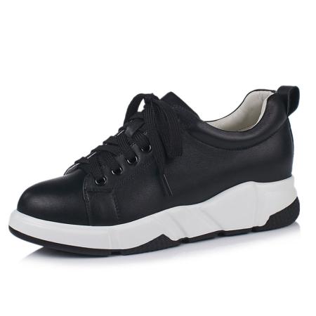 Garthphil 松糕内增高真皮休闲小白鞋女l008225-3744·黑色·黑色