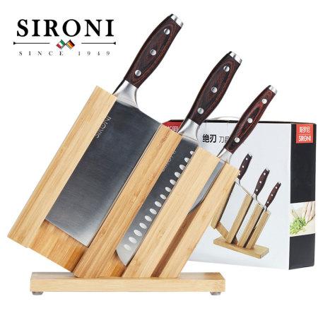 斯罗尼(SIRONI)绝刃系列不锈钢刀具四件套 厨房家用刀具组合套装·银色