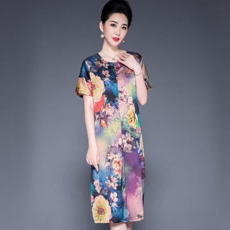 重磅真丝彩扣印花连衣裙·紫色5817