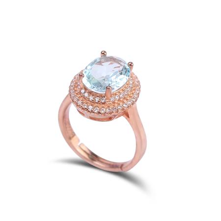 映时蓝色梦幻托帕石戒指 可伸缩