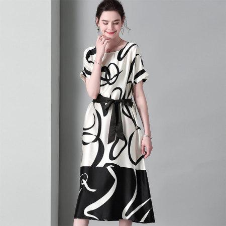 今升 重磅真丝宽松系带连衣裙·米白色