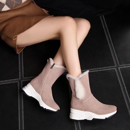 Garthphil 雪地靴女秋冬真皮加绒女靴棉鞋子l001981-19014·粉色绒