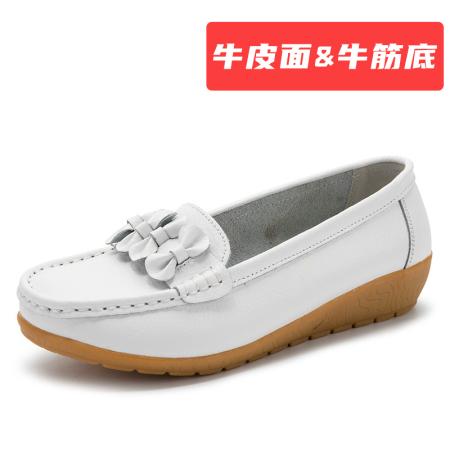 蝴蝶结 【牛皮面&牛筋底】豆豆鞋·白色