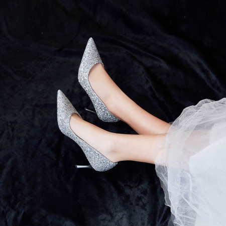 Garthphil 职场高跟鞋女性感女单鞋气质女鞋DMDF008·银色