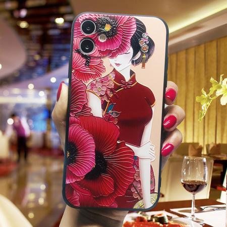 国潮中国风浮雕软壳手机壳 WH20200610·大红玫瑰旗袍美女