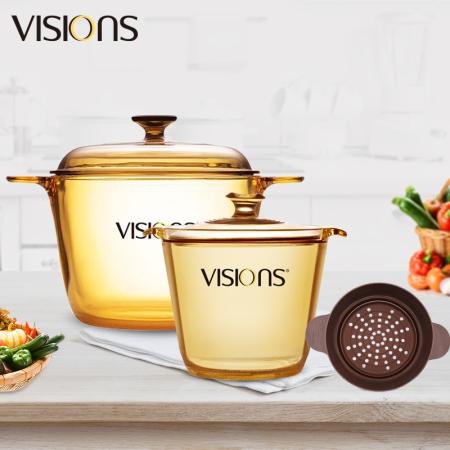 康宁(VISIONS)晶彩透明锅组合(双耳3.5L+双耳1.2L+硅胶蒸格)