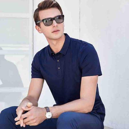 意大利富铤 【桑蚕丝】2019夏季新款短袖纯色商务翻领T恤---4色可选·上青色