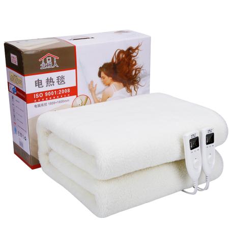 北极人羊毛绒电热毯1859双人双控智能定时5档调温安全防水180*150cm