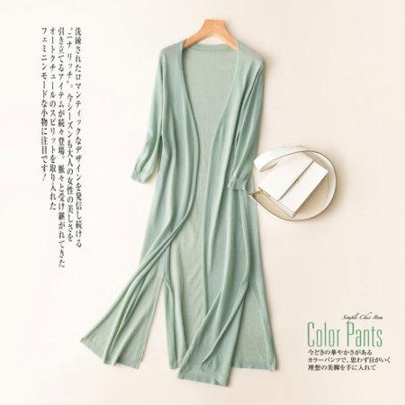 絮笈 纯色亚麻针织长袖开衫中长款·豆绿