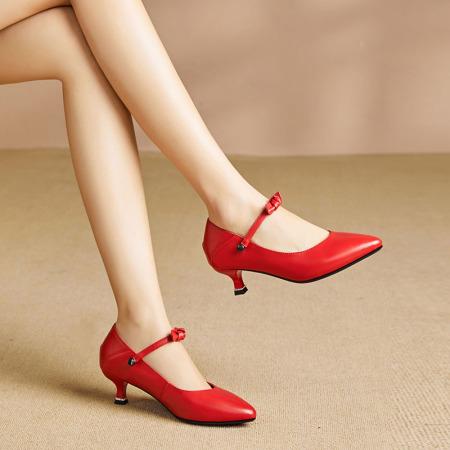 Garthphi高跟鞋女全牛皮舒适真皮女鞋f7716·红色