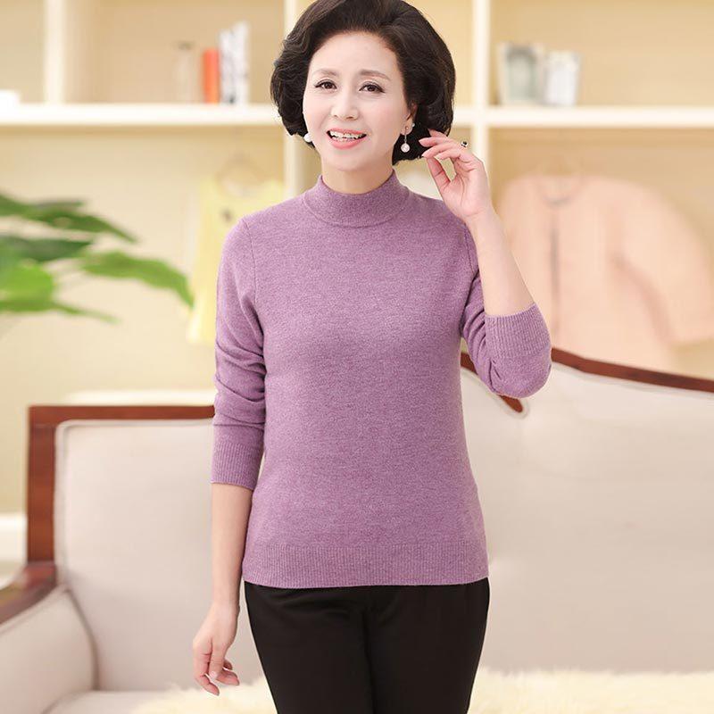 妈妈装100羊毛衫半高领秋冬款-80046·梅紫  梅紫