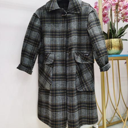 1号 羊毛格纹长款大衣·0