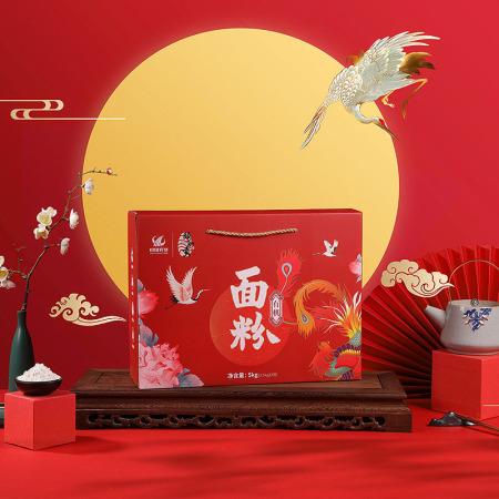 颐和贡 中国农垦优质石磨面粉 小麦粉 有机面粉 5kg礼盒装·红色
