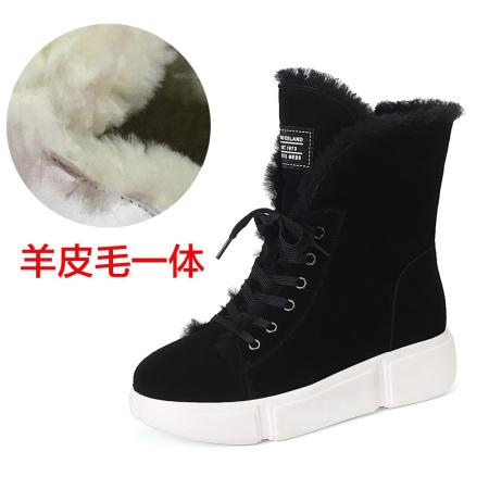 Garthphil 雪地靴女羊皮毛一体百搭韩版平底短靴l021308-4060·黑色羊毛