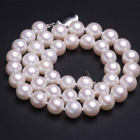 银生珍珠正圆微微瑕淡水珍珠项链9.5-10.5mm (链长45CM)      共同