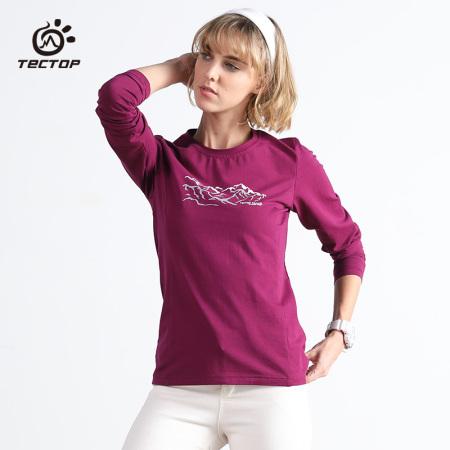 探拓 情侣款户外纯棉长袖弹力T恤81285-81286·紫红-女