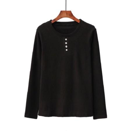 百蝶依BJL德绒玻尿酸T恤四扣-CH2007款·黑色