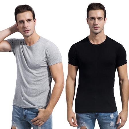 南极人 男士纯棉短袖汗衫*2件特惠组·灰色+黑色