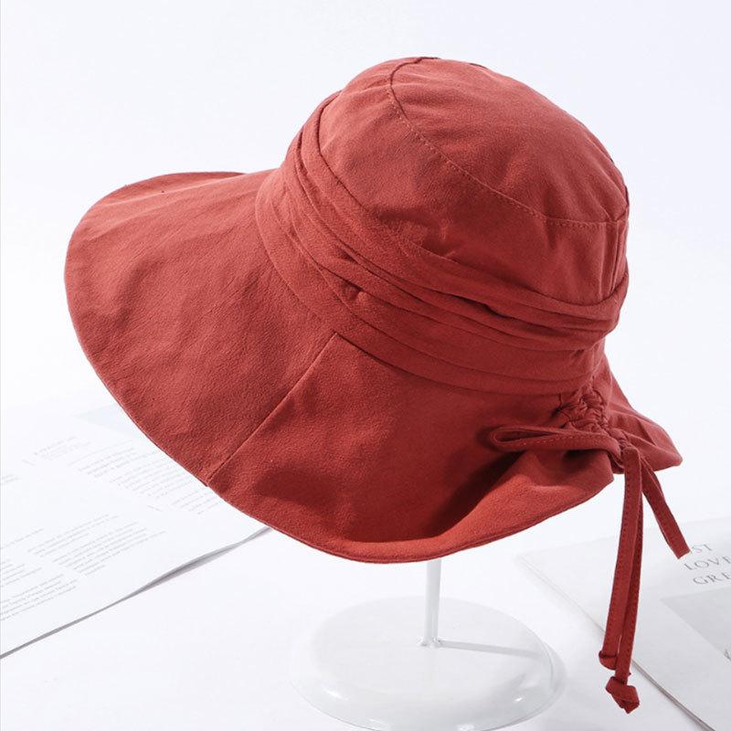絮笈 日系拉绳蝴蝶结纯色遮阳帽子·橘色