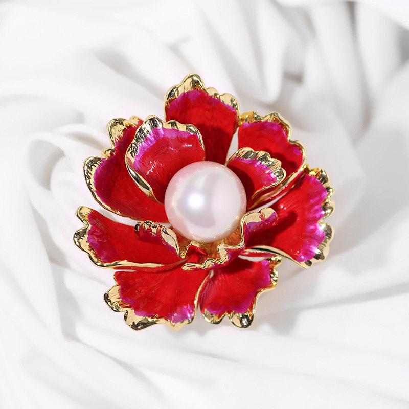 温书院民族风牡丹花胸针淡水珍珠旗袍别针披肩扣丝巾扣X712·金红色