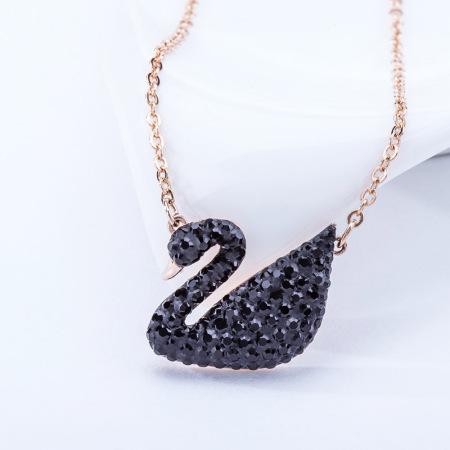 施华洛世奇Iconic Swan黑天鹅项链锁骨链玫瑰金项链 5204134
