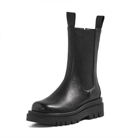 牛皮厚底增高烟筒靴短靴·NQE02-220黑色