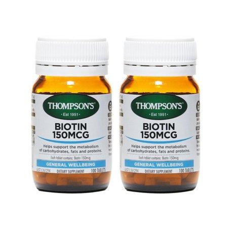 Thompsons汤普森 生物素维生素H150mcg 100片*2瓶