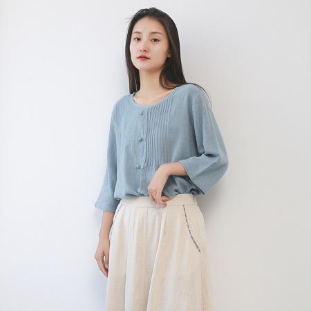 漫丽依夏装纯竹节棉圆领压绉宽松女T恤·浅蓝 3836