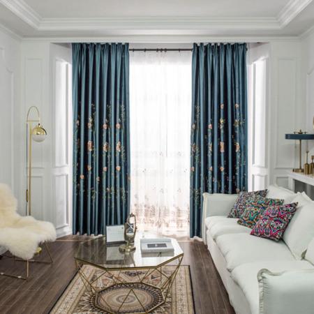 米格妮菲灵鹊兆喜刺绣窗帘·藏蓝