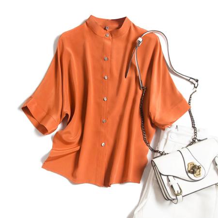 花雨年轻款绿色桑蚕丝衬衣上衣·橘红