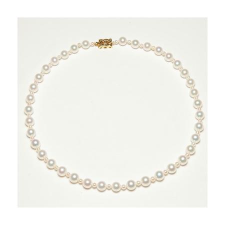 Vermeer 925银日本AKOYA海水珍珠大小珠渐变项链7-7.5mm·白色