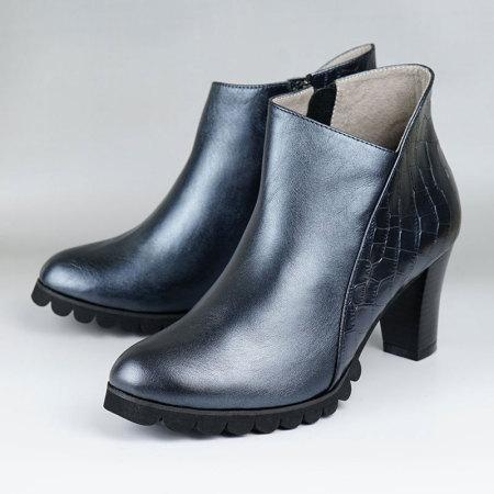 诺曼地可弯曲珠光牛皮高跟靴·珠光黑