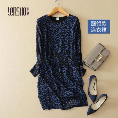 悦晓 桑蚕丝气质蕾丝连衣裙-蓝色--权威质检100%桑蚕丝!聚会!旅行!拍照!