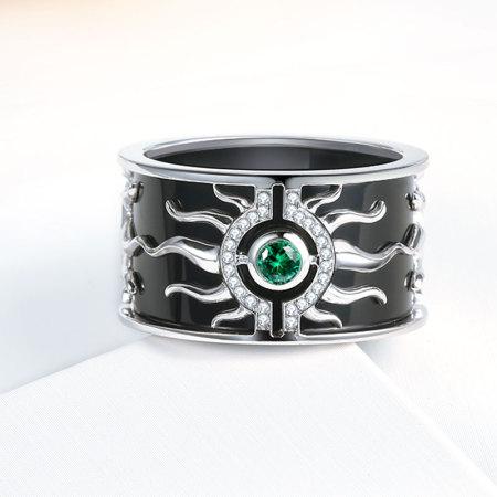 阖天下传家宝 18K金缟玛瑙钻石戒指J171081669·白色