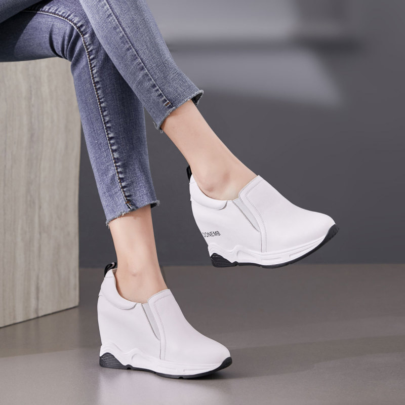 Garthphil 里外全皮内增高厚底休闲鞋女鞋l2072·白色