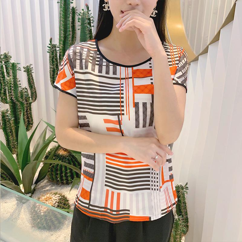 丁摩 19姆米新款宽松真丝弹力缎上衣·橙色  橙色