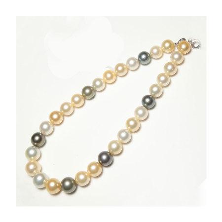 Vermeer 大溪地南洋黑白金混彩珍珠项链 12-14mm