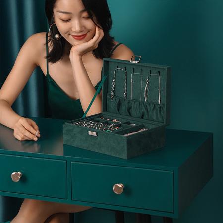 海兴化妆品收纳盒防尘大容量护肤品口红首饰桌面整理梳妆台轻奢置物架·轻奢首饰盒