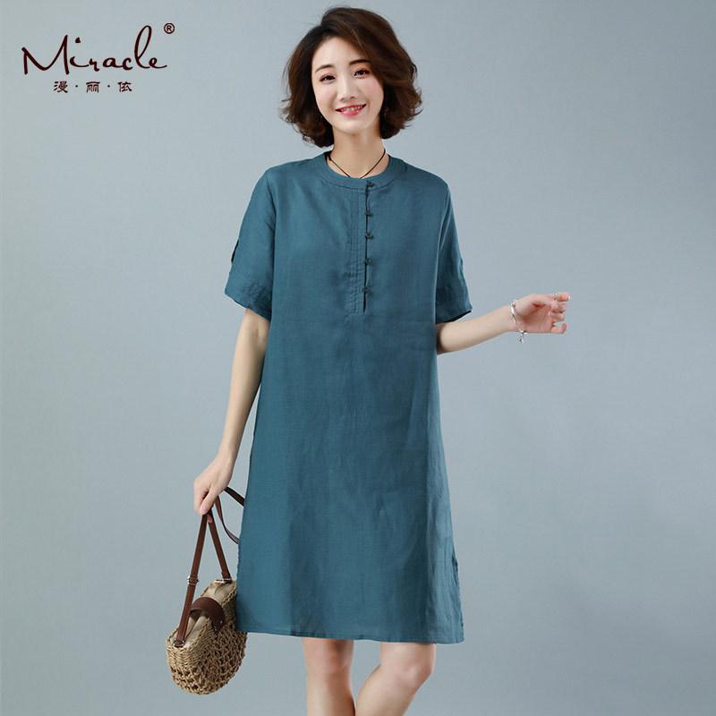 漫丽依新款纯亚麻宽松女连衣裙·绿色 1990--设计师风格!简约时尚!穿出高级感!