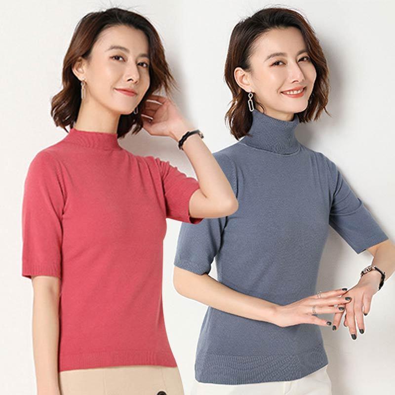 絮笈 30%羊毛五分袖薄款针织衫两件组·半高领黑色+半高领西瓜红  半高领黑色+半高领西瓜红