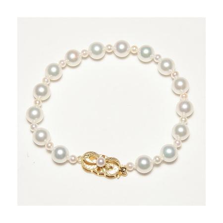 Vermeer 925银日本AKOYA海水珍珠大小珠渐变手链7-7.5mm·白色