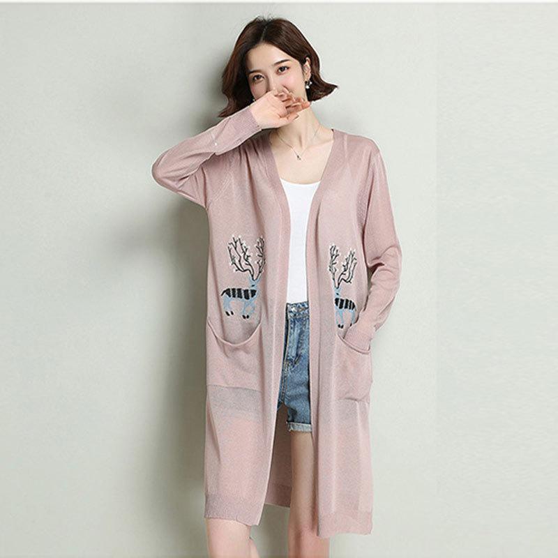欧奈丝时尚冰麻中长款开衫NS16016·雾霾蓝