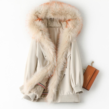 安柘娜 新款貉子毛领女连帽大衣中长款兔毛内胆K10001·米色