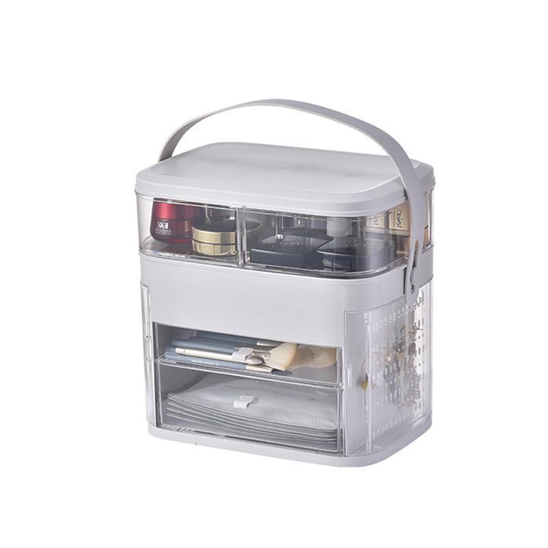 海兴网红化妆品收纳盒LED灯 防尘护肤品梳妆台桌面带镜子灯首饰置物架·镜面款