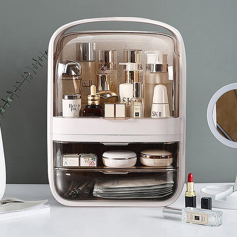 海兴网红化妆品收纳盒桌面防尘多功能大容量口红护肤品化妆盒收纳箱晶·水晶双抽